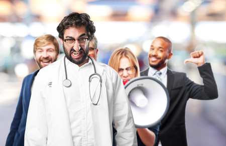 young funny man angry concept. doctor concept Stock Photo