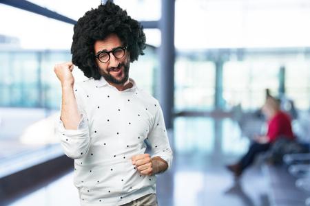 drunken: young funny man dancing Stock Photo