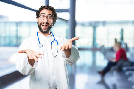 young funny man proud pose. doctor concept Stock Photo