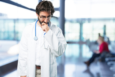 young funny man thinking. doctor concept Stock Photo