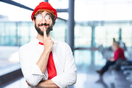young funny architect thinking Stock Photo