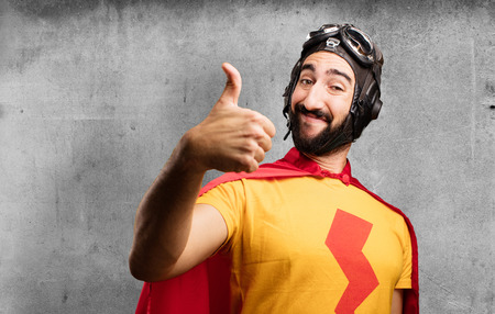 crazy super hero okay sign Stock Photo