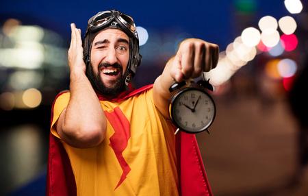 crazy super hero with clock