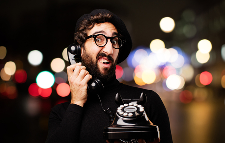 young french artist with vintage phone Stock Photo