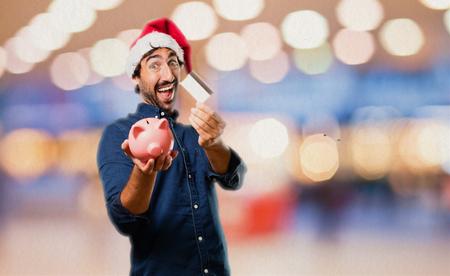 christmas debt: santa claus with credit card
