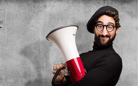 young french artist with a megaphone Stock fotó