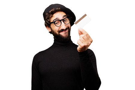 young french artist with credit card Stock Photo