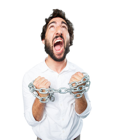 young funny man with chain.disagree expression