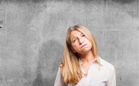 irritate: senior beautiful woman boring pose