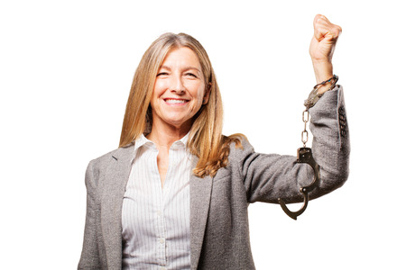 woman in handcuffs: senior beautiful woman with handcuffs