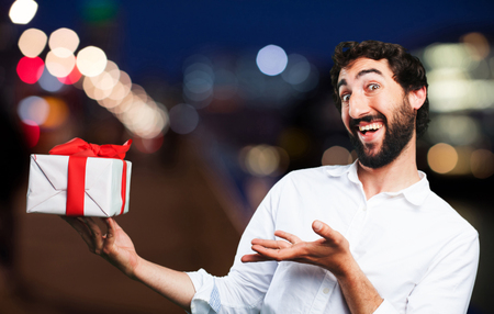 young funny man with a gift
