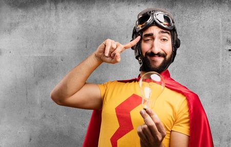 crazy super hero with bulb Stock Photo