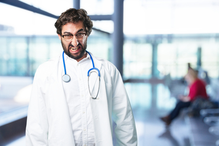 young funny man angry concept. doctor concept Imagens