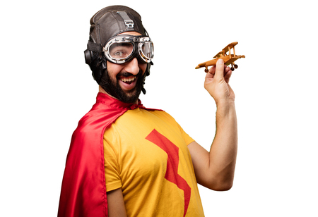 crazy super hero with wooden plane