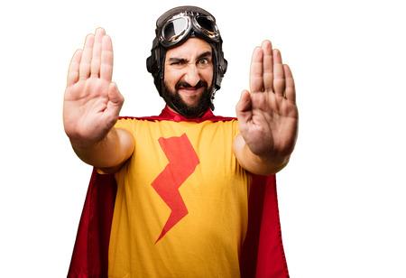Gesto loco de la parada del superhéroe