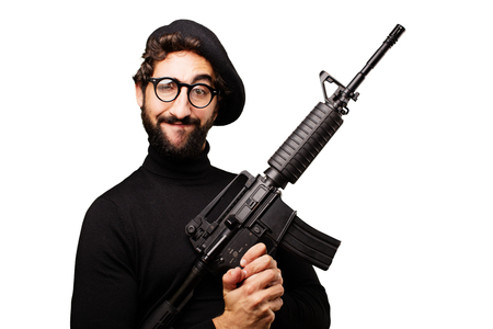 young french artist with a gun