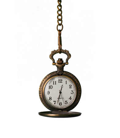vintage pocket watch isolated against white background 스톡 콘텐츠