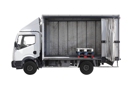 business storage truck isolated against white background Stock Photo