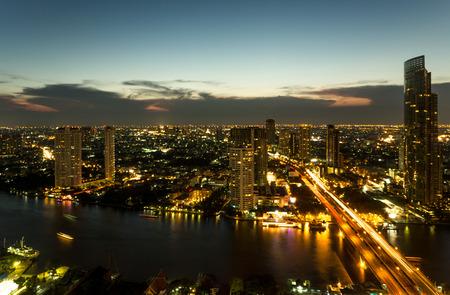 night views: View on Sathon Tower in Bangkok , Thailand