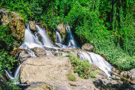 beautiful view waterfall or nature and sky for top travel in thailand and unseen thailand at WaterFall in Chiang mai Stock Photo