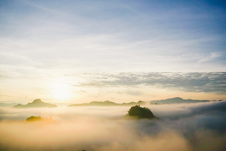 faintly visible: beautiful view landscape or nature and sky for top travel in thailand and unseen thailand at Ban Cha Bo in sunrise time ,Chiang mai Stock Photo