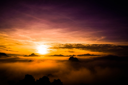 beautiful view landscape or nature and sky for top travel in thailand and unseen thailand at Ban Cha Bo in sunrise time ,Chiang mai Stock Photo