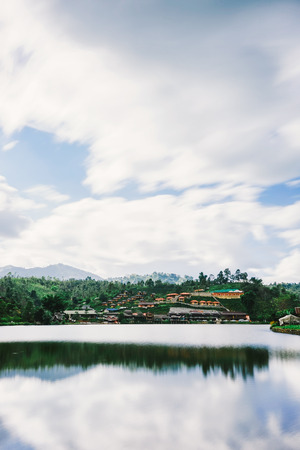 beautiful view landscape or nature and sky for top travel in thailand and unseen thailand at Ban rak thai in Mae Hong Son