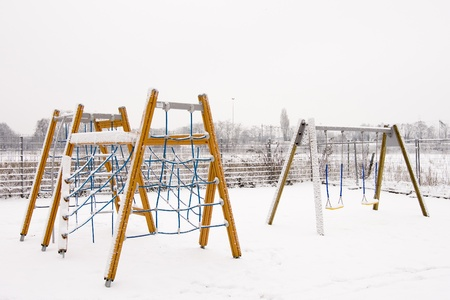climbing frames: Playground for children with climbing frames and swings