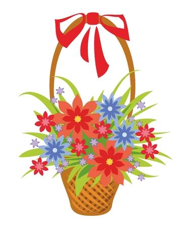 floriculture: Beautiful flowers in a wicker basket as a gift Illustration