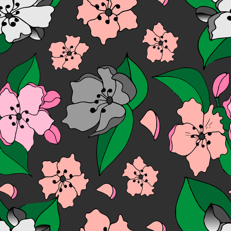 Seamless pattern of Apple blossoms on grey background. Vector illustration.