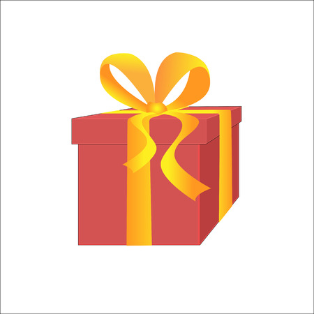 red gift box: Red Gift Box with Yellow Ribbon