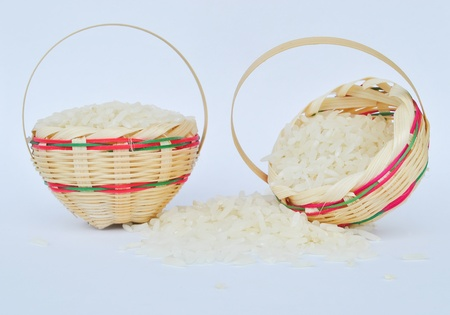 basketwork of rice on white background
