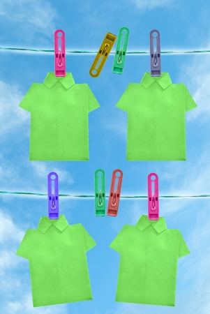 colorful of T shirt on the clothes line in blue sky day Stock Photo - 14188023