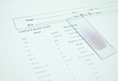 blood smear on paper report result in laboratory