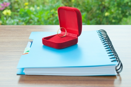 colum: ring for wedding on note book