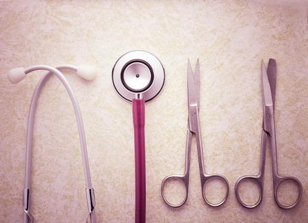 medical  equipment set in medical concept  vintage color