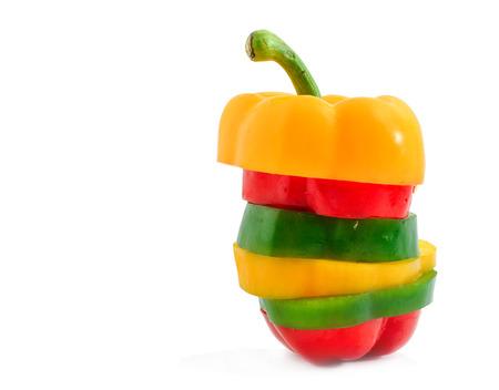 slice pepper bell isolated on white background