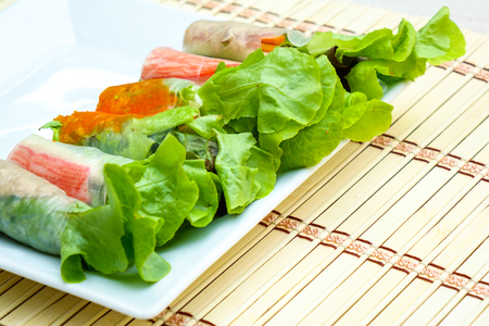 top view salad roll on table