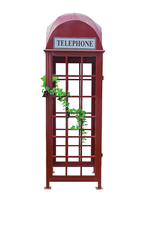 telephone booth: telephone booth isolated on white. Stock Photo