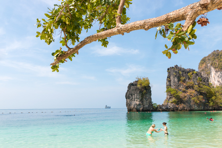 KRABI,THAILAND - MAY 3: Koh Hong island famous attractions.Tourist s of different countries come to visit the beautiful islands of Andaman and popular sunbathing  in Krabi.