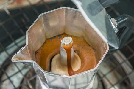 percolator: Metal coffee percolator for brewing Italian espresso coffee
