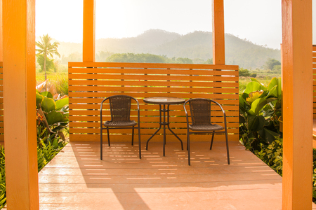 Morning garden porch on sunrise