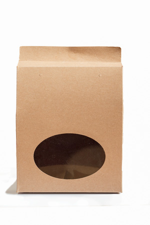 Paper bag vertical on white background isolated.