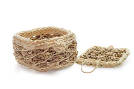 Small wooden basket on white background.isolated.