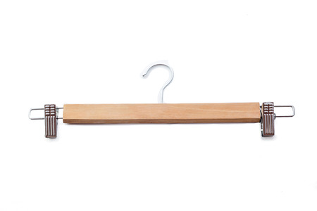 Wooden hanger isolated.on white background.