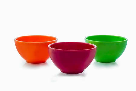 Multi color cup on white background.isolated.