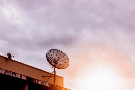 sunset satellite dish