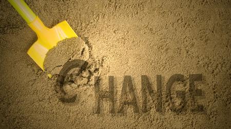 Change concept by digging sand Lizenzfreie Bilder