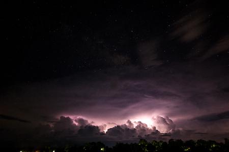 formation of lightning clouds at night Lizenzfreie Bilder