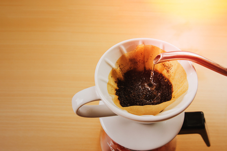 morning drip coffee with sunrise.